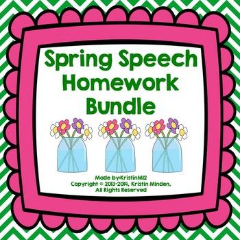 Spring Speech Homework Bundle