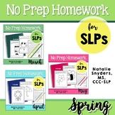 Spring No Prep Speech-Language Therapy Homework Bundle