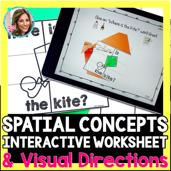 Spring Speech Therapy | Spatial Concepts Worksheet | No Print Visual Directions