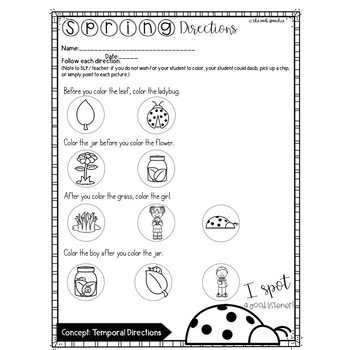Spring Speech and Language | Following Directions | Temporal Directions