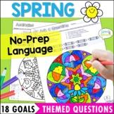 Spring Speech and Language Activities Mandala Coloring pag