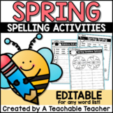 Spring Spelling Activities - EDITABLE