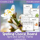 EDITABLE Spring Spelling Choice Board