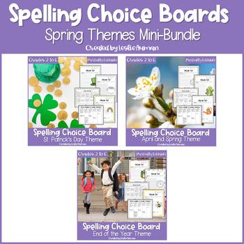 Spring Spelling Choice Menu Bundle | EDITABLE