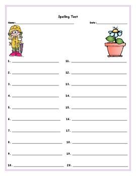 Spring Spelling List Templates