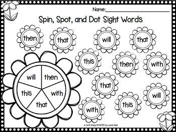 Spring Spin, Spot, and Dot Sight Words Bingo Dauber Activities FREEBIE
