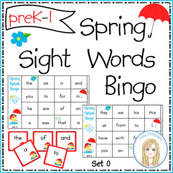 Spring Splash Sight Words Bingo - Set 0 : First 25 Sight Words
