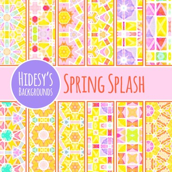 Spring Splash Watercolor Digital Papers / Patterns / Backgrounds Commercial Use