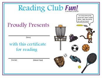 Spring Sports Reading Log and Certificate Set