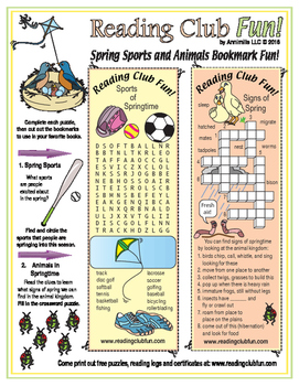 Spring Sports and Animals Puzzling Bookmarks