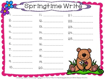 Spring Spot and Jot - Fry Words 101-200