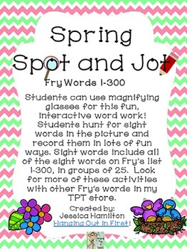 Spring Spot and Jot - Fry Words BUNDLE