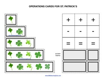 Spring St Patricks operations cards prek primary math addition subtraction