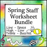 Music Staff Worksheet Bundle for Spring | Print and Digital