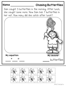Addition and Subtraction Worksheets Spring Story Problems