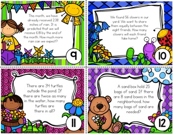 Spring Story Problems for 3rd Grade Math