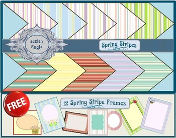 Spring Stripes Digital Paper + Free Spring Stripes Digital Frames