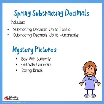 Spring Subtracting Decimals Up to Tenths, Hundredths