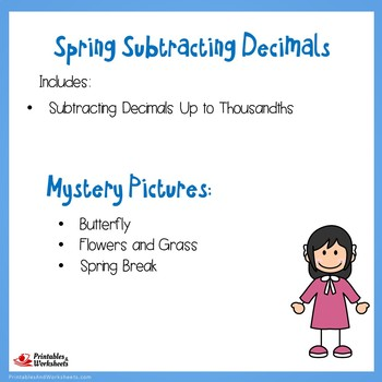 Spring Subtracting Decimals Up to Thousandths