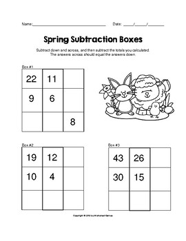 Spring 1 and 2 Digit Subtraction Boxes Math Puzzle Worksheet
