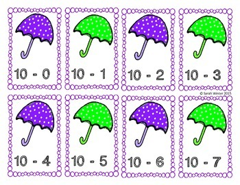 Spring Subtraction Cards
