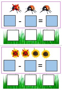 Spring Subtraction Cards- Interactive Math Activity for Children With Autism