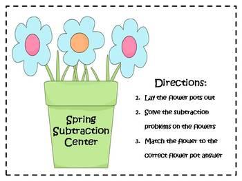 Spring Subtraction Center - Double Digit {FREEBIE}