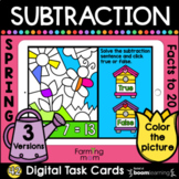 Spring Subtraction Color by Number | Facts to 20 | BOOM Cards