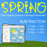 Spring Math Subtraction, Spring Subtraction Mystery Pictures Coloring Worksheets