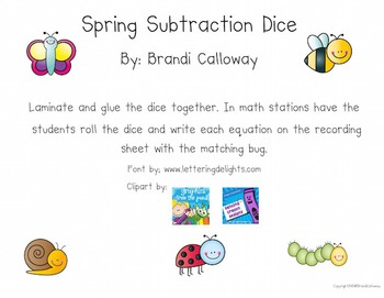 Spring Subtraction Dice