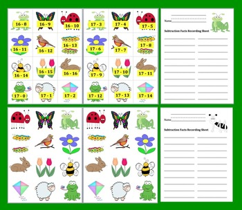 Spring Math Centers: Subtraction:  190 Facts  -3 Ways to Play-Common Core