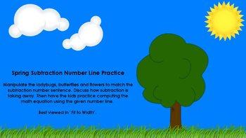 Spring Subtraction Number Line Practice