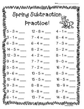 Spring Subtraction Practice -- 4 Leveled Worksheets