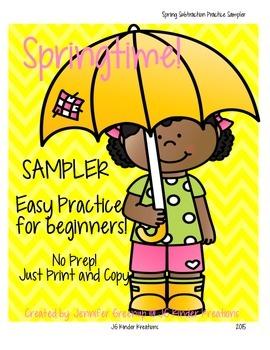 Spring Subtraction Practice NO PREP Sampler