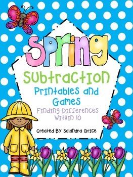Spring Subtraction Printables and Games