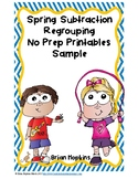 Spring Subtraction Regrouping No Prep Printables Sample FREEBIE