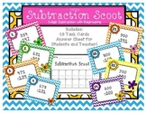 Spring Subtraction Scoot Three-Digit Numbers with Regrouping