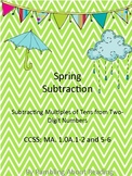 Spring Subtraction {Subtracting Multiples of Ten from Two-digit Numbers}