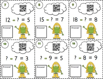 Spring Subtraction Task Cards with QR Codes