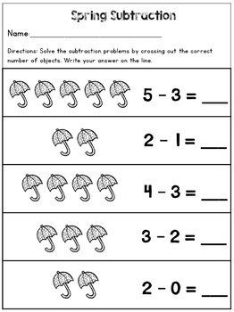 Simple Spring Subtraction Worksheets Kindergarten Numbers ...
