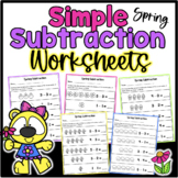 Simple Spring Subtraction Worksheets Kindergarten Numbers 0-5