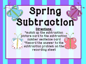 Spring Subtraction (basic 1 digit subtraction)