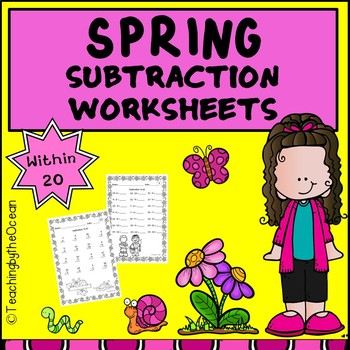 Spring Subtraction to 20 Fact Fluency Worksheets