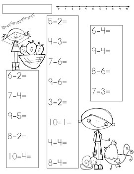 Spring Subtraction up to 10