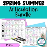 Spring Summer Articulation Bundle Game Sound Worksheets  Speech Therapy No Prep