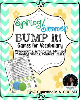 Spring Summer BUMP IT Vocabulary Games Synonyms, Antonyms, MMW, Context Clues