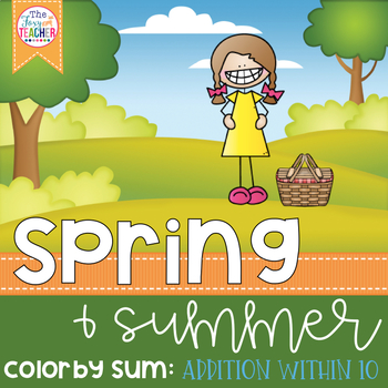 Spring & Summer Color by Sum: Addition Facts to 10