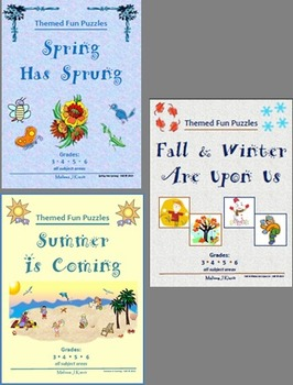 Spring, Summer, Fall, Winter Bundle - Fun Themed Puzzles & Writing Prompts
