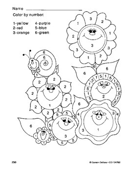 Spring Summer Flowers Color By Number Grades PK-1 | TpT
