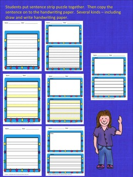 Handwriting: Spring Summer Puzzle Sentence Strips for Center Time!